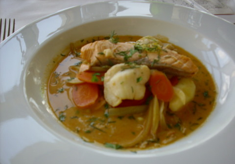Bowl of fish soup, elegant and simple