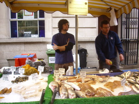 Shellfish stall at farmers' market