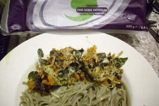 Green tea noodles and tamarind stir fry