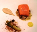 Casamia salmon poached in olive oil with Jerusalem artichoke puree