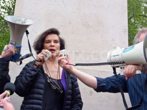 Bianca Jagger - image from http://www.demotix.com/news/2088303/environmental-gmo-activists-march-against-monsanto-london#media-2088296