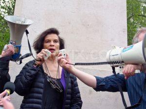 Bianca Jagger - image from http://www.demotix.com/news/2088303/environmental-gmo-activists-march-against-monsanto-london#media-2088296