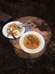 Stew served at log table Metrobus protest Bristol