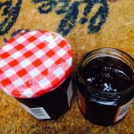 Two pots of home made blackberry jam