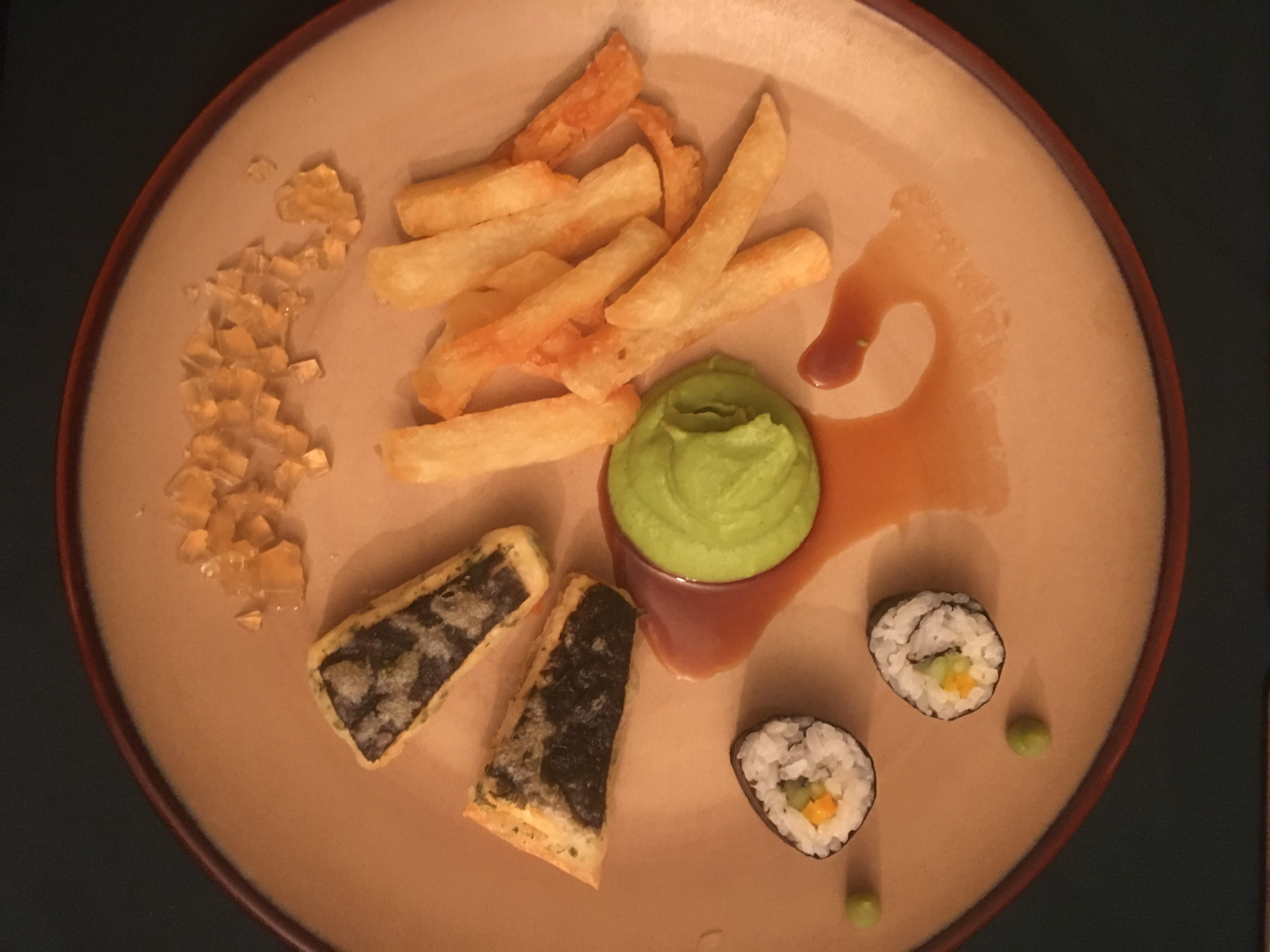 Real food lover good food starts with good ingredients from good soil carrot lox cucumber sushi rolls with tamari pearls tofu fish with curd bean skin triple cooked chips fresh pea mousse and apple cider vinegar jelly forumfinder Image collections