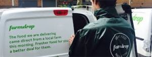Farmdrop van and van driver with lettering: The food we are delivering came from a local farm this morning. Fresher food for you, a better deal for them.""