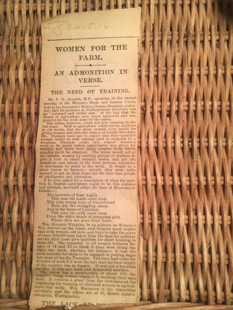 1916 newspaper cutting on origins of Women's Land Army