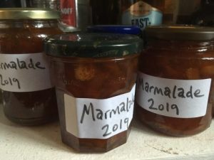Labelled home-made marmalade jars
